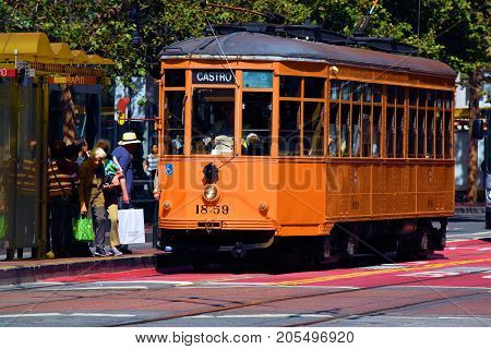 September 19, 2017 in San Francisco, CA:  Railway Street Car which is part of the transit system taken in San Francisco, CA where people can ride these historic rail cars between the Castro and Fisherman's Warf on Market Street