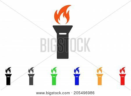 Torch Flame icon. Vector illustration style is a flat iconic torch flame symbol with black, grey, green, blue, red, orange color additional versions. Designed for web and software interfaces.