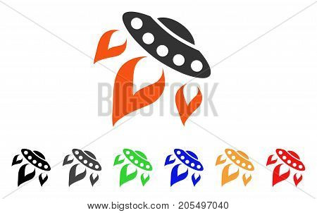 UFO Start Fire icon. Vector illustration style is a flat iconic ufo start fire symbol with black, grey, green, blue, red, orange color versions. Designed for web and software interfaces.