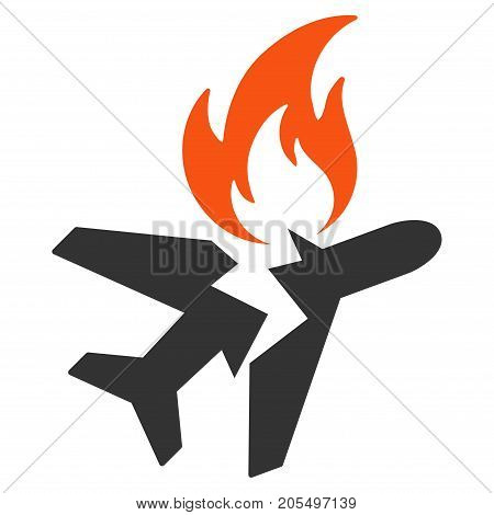 Airplane Fire Crash flat vector illustration. An isolated illustration on a white background.