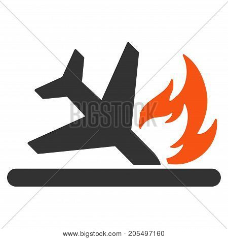 Airplane Landing Crash flat vector pictogram. An isolated illustration on a white background.