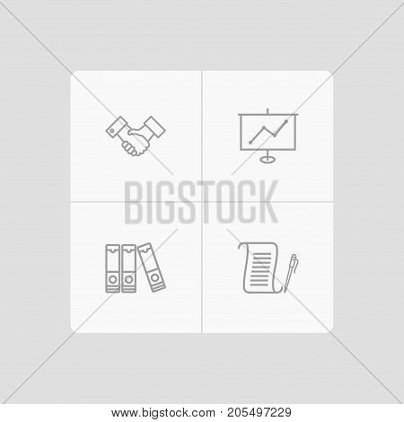 Collection Of Show, Document Case, Agreement And Other Elements.  Set Of 4 Bureau Outline Icons Set.