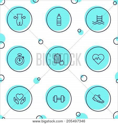Collection Of Trekking Shoes, Health Care, Dumbbell And Other Elements.  Set Of 9 Training Outline Icons Set.