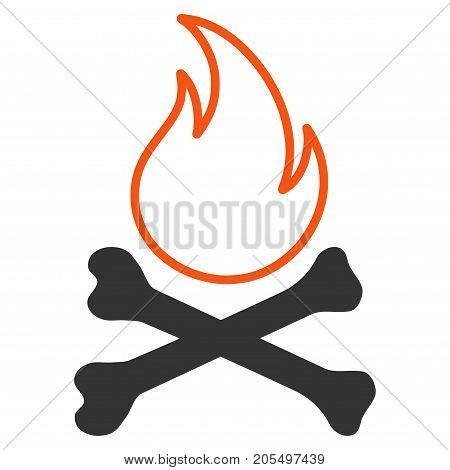 Bones Hell Fire flat vector icon. An isolated illustration on a white background.