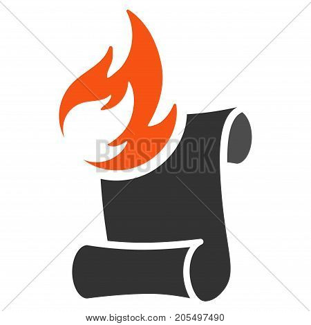 Burn Manuscript flat vector pictogram. An isolated illustration on a white background.