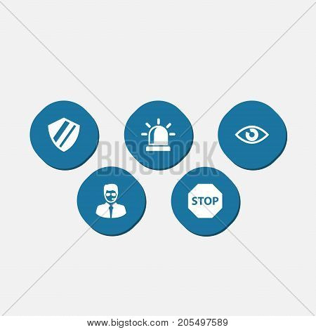 Collection Of Sign, Protection, Security Man And Other Elements.  Set Of 5 Security Icons Set.