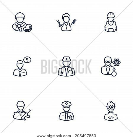 Collection Of Artist, Worker, Programmer And Other Elements.  Set Of 9 Professions Outline Icons Set.