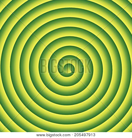 Green and yellow spiral vector hypnothic background.
