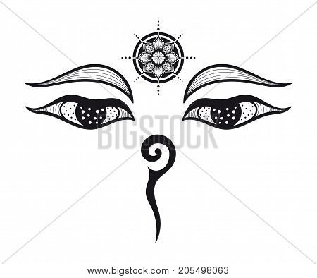 Eyes of Buddha, Buddhist Eyes, symbol wisdom and enlightenment. Nepal