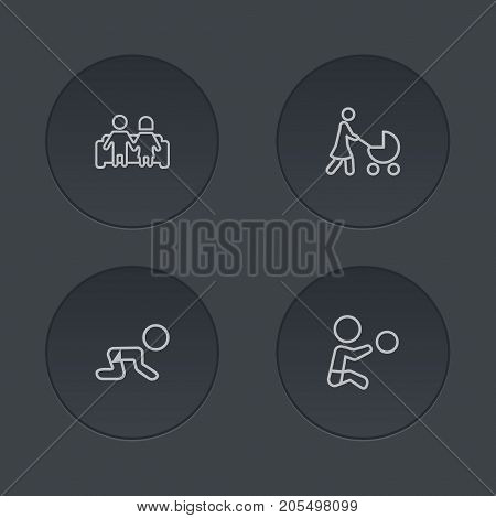 Collection Of Boy, Crawling Kid, Stroller And Other Elements.  Set Of 4 People Outline Icons Set.
