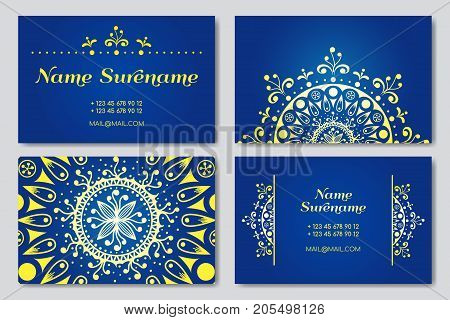 Visiting card and business card set with mandala design elements. Vector illustration. Abstract oriental design
