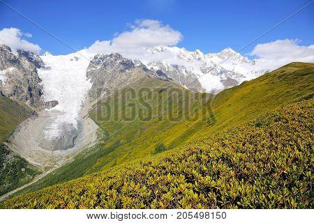 glacier in the Caucasus mountain range in Georgia. Mountain landscape