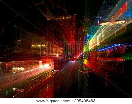 Colorfil fractal backdrop in technology or sci fi style. Night city lights. Abstract computer-generated image - 3d illustration. Concept background for desktop wallpaper or creative disign projects.