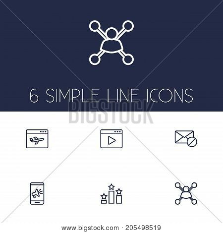 Collection Of Landing Page, Mobile, Stock Exchange Elements.  Set Of 6 Optimization Outline Icons Set.