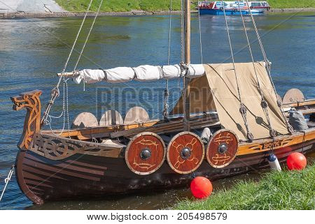 St. Petersburg Russia - May 27 2017: Replica of the legendary Viking ship in St. Petersburg Russia