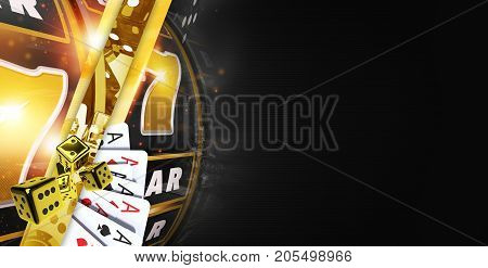 Golden Black Casino Banner with Elements of Slot Machine Dices and Poker Cards. 3D Rendered Illustration. Right Side Copy Space.