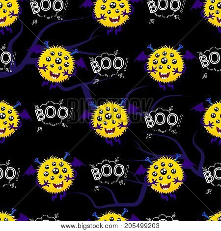 Abstract seamless pattern for girls or boys. Creative vector background with a flying hairy multi-eyed monster. A terrible terrifying ball. Colorful bright picture for children.