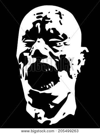 Zombie demon screams head. Vector illustration. Scary character face. Black and white colors. The horror genre.