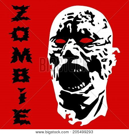 Angry zombie screams head. Vector illustration. Scary character face. The horror genre.