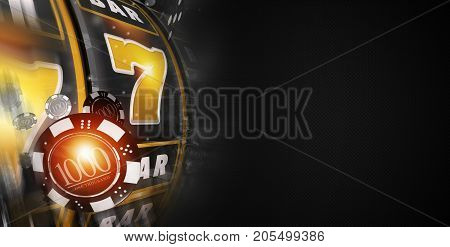 Lucky Slot Machine Banner 3D Rendered Illustration. Black Banner with Copy Space. Vegas Style Slot Machine and Games Chips.