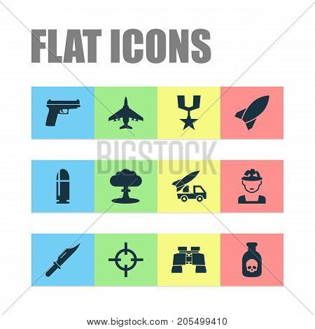 Combat Icons Set. Collection Of Order, Danger, Weapons And Other Elements