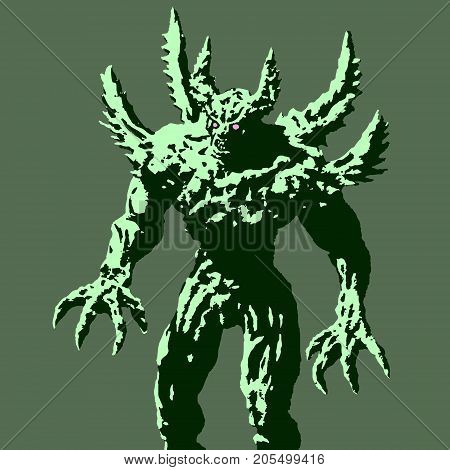 Green demon with spikes stands ready to attack. Vector illustration. Scary horned monster character. Black and white colors. The horror genre.