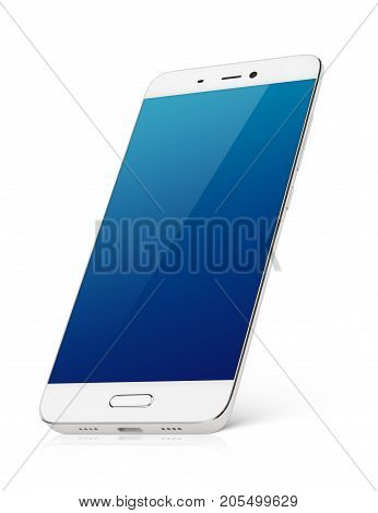 Modern white smartphone with blue emty screen stands isolated on white background. Smart phone with clipping path