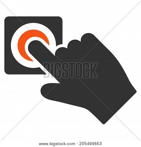 Push Alarm Button flat vector illustration. An isolated illustration on a white background.