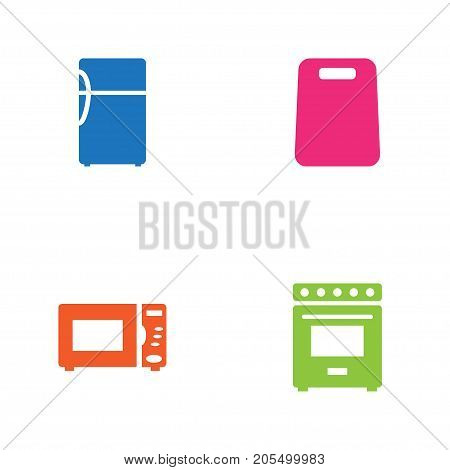 Collection Of Cutting, Oven, Furnace And Other Elements.  Set Of 4 Cooking Icons Set.