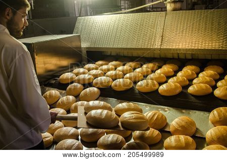 Baker. A Young Handsome Bakery Worker On The Background Of Bread, Takes Bread From A Stove With A Wo