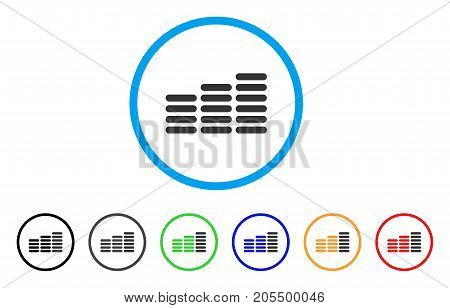 Coin Columns rounded icon. Style is a flat coin columns grey symbol inside light blue circle with black, gray, green, blue, red, orange versions. Vector designed for web and software interfaces.