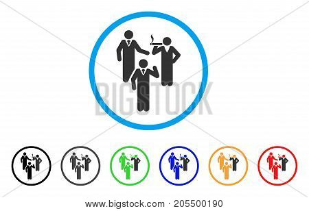 Discussion Group rounded icon. Style is a flat discussion group grey symbol inside light blue circle with black, gray, green, blue, red, orange color versions.