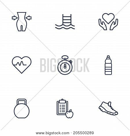 Collection Of Pulse, Diet, Weight Loss And Other Elements.  Set Of 9 Fitness Outline Icons Set.