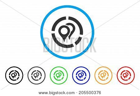 Geotargeting Diagram rounded icon. Style is a flat geotargeting diagram grey symbol inside light blue circle with black, gray, green, blue, red, orange color versions.
