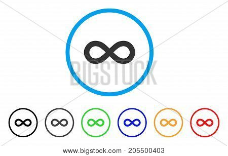 Infinity rounded icon. Style is a flat infinity gray symbol inside light blue circle with black, gray, green, blue, red, orange versions. Vector designed for web and software interfaces.