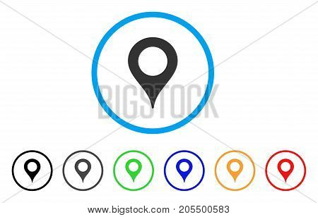 Map Marker rounded icon. Style is a flat map marker gray symbol inside light blue circle with black, gray, green, blue, red, orange versions. Vector designed for web and software interfaces.