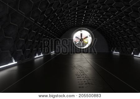 3d rendering of concrete garage with hexagon pattern and ventilation system