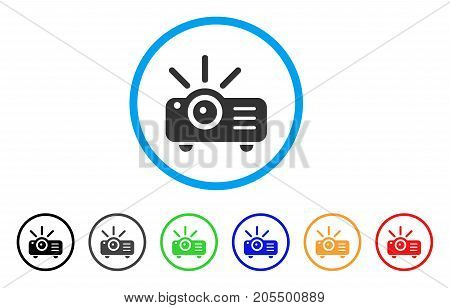 Projector rounded icon. Style is a flat projector gray symbol inside light blue circle with black, gray, green, blue, red, orange color versions. Vector designed for web and software interfaces.