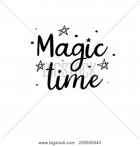 Magic time. Christmas calligraphy. Handwritten brush lettering for greeting card, poster, invitation, banner. Hand drawn design elements. Isolated on white background.