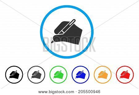 Signature Hand rounded icon. Style is a flat signature hand gray symbol inside light blue circle with black, gray, green, blue, red, orange versions. Vector designed for web and software interfaces.