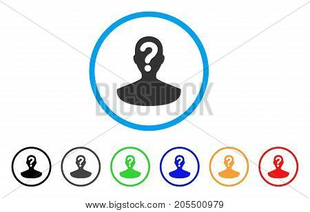 Unknown Person rounded icon. Style is a flat unknown person grey symbol inside light blue circle with black, gray, green, blue, red, orange versions. Vector designed for web and software interfaces.