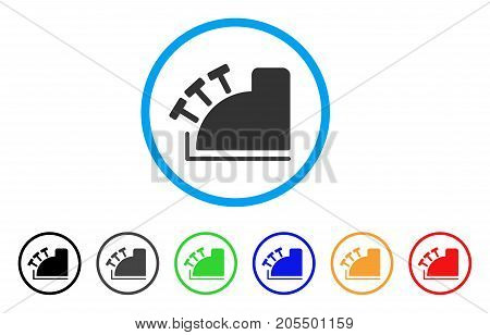 Cash Register rounded icon. Style is a flat cash register grey symbol inside light blue circle with black, gray, green, blue, red, orange color versions.