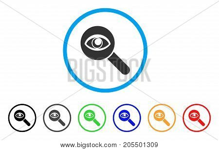 Eye Explore rounded icon. Style is a flat eye explore gray symbol inside light blue circle with black, gray, green, blue, red, orange versions. Vector designed for web and software interfaces.