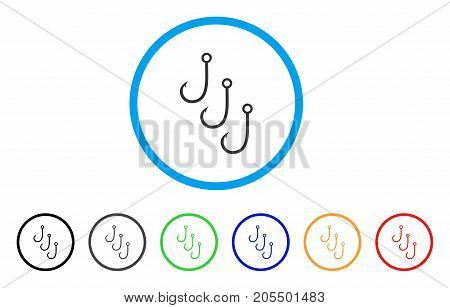 Fishing Hooks rounded icon. Style is a flat fishing hooks gray symbol inside light blue circle with black, gray, green, blue, red, orange variants. Vector designed for web and software interfaces.