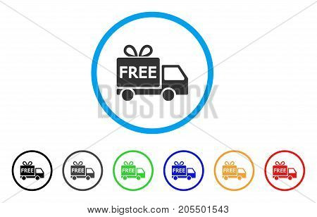 Free Delivery rounded icon. Style is a flat free delivery grey symbol inside light blue circle with black, gray, green, blue, red, orange versions. Vector designed for web and software interfaces.