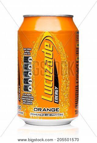 London,uk - September 24, 2017: Aluminium Can Of Lucozade Orange Energy Drink Shot In Studio On Whit