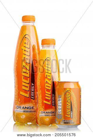 London,uk - September 24, 2017: Bottles Of Lucozade Orange Energy Drink Shot In Studio On White