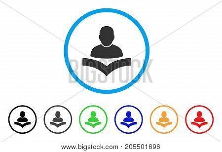 Reader Boy rounded icon. Style is a flat reader boy grey symbol inside light blue circle with black, gray, green, blue, red, orange versions. Vector designed for web and software interfaces.