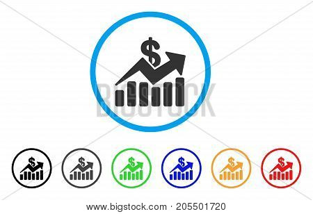 Sales Bar Chart Trend rounded icon. Style is a flat sales bar chart trend grey symbol inside light blue circle with black, gray, green, blue, red, orange versions.