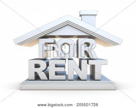For Rent House Sign Front View 3D